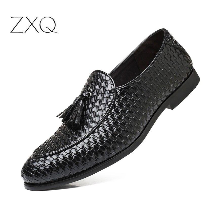 Plus Größe 38-48 Neue Design Männer Freifahr Loafer Schuhe Webmuster Leder Männer Wohnungen Schuhe Quaste Beliebte Männer mokassins Müßiggänger
