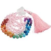 Sunyikピンククォーツ7チャクラ石ブレスレットチベット仏教数珠ネックレスで不規則なクリスタル
