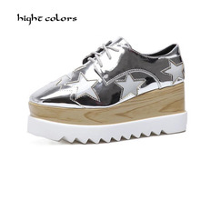 Spring 2017 Woman Shoes Wedge High Heel Platform Five-pointed star Women Pump Lace Up PU Leather Ladies Wedding Shoes Size 35-40 цены онлайн