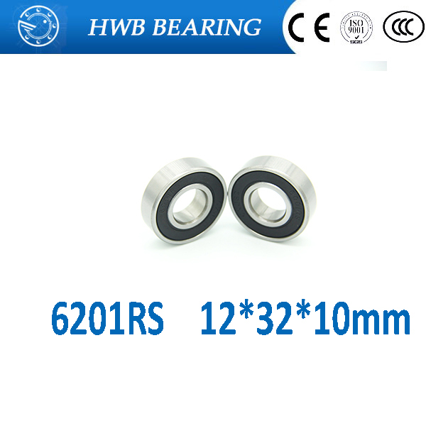 Free shipping 10Pcs 6201-2RS <font><b>6201RS</b></font> 6201 RS 12*32*10mm Deep Groove Ball Bearings 12 x 32 x 10mm for bicycle hubs image