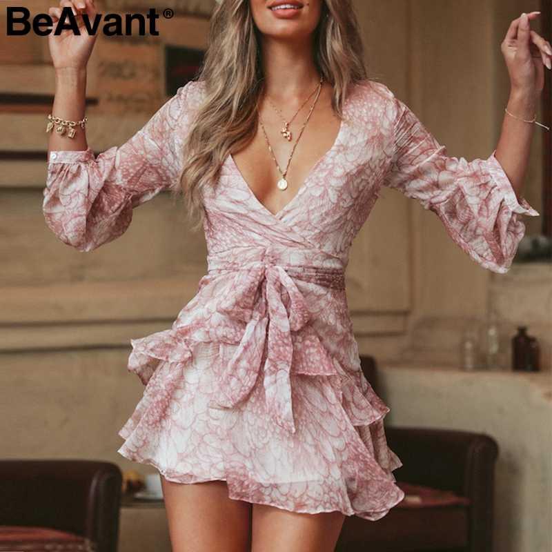 BeAvant ТРАПЕЦИЕВИДНОЕ короткое платье с цветочным принтом, женское богемное летнее платье с длинными рукавами, повседневное сексуальное мини-платье с v-образным вырезом и высокой талией
