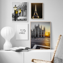Paris Tower Castle Church Quotes Wall Art Canvas Painting Nordic Posters And Prints Landscape Pictures For Living Room Home