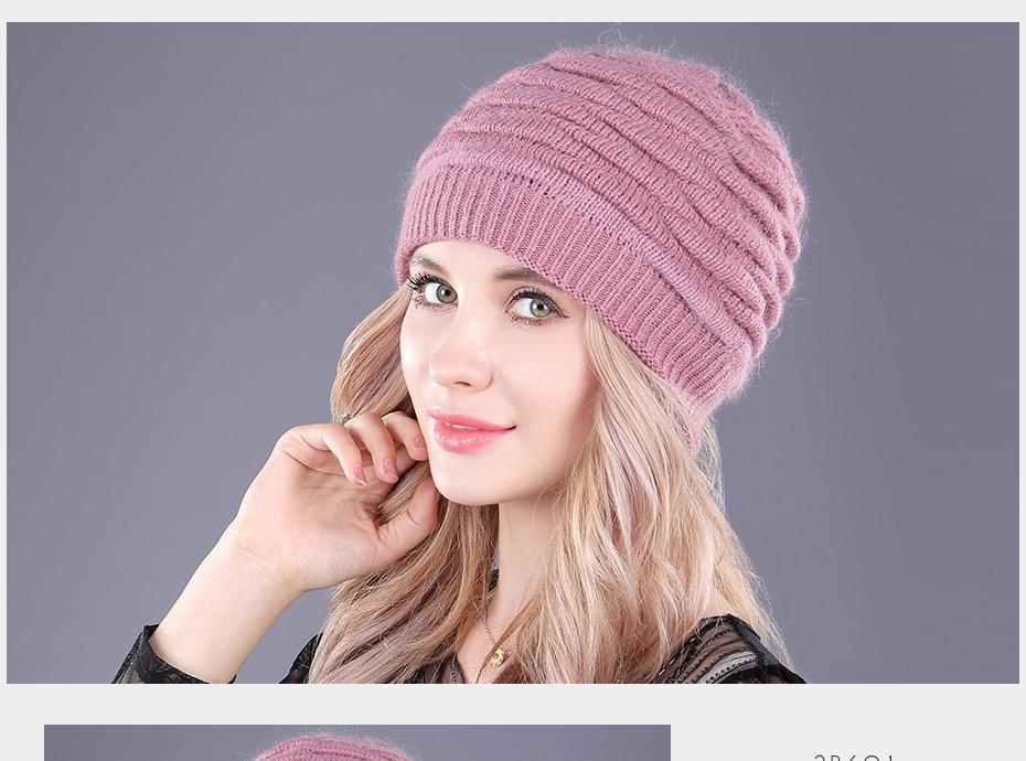 [boapt] soft rabbit double knitting thick bonnet beanie caps solid warm winter hats for women's cap skullies beanies female hat
