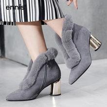 7a3c544a74 ENNIS 2018 Botas de Inverno Mulheres De Peles Reais Ankle Boots de Salto  Alto de Camurça Dedo Apontado Couro Preto Botas Quentes.