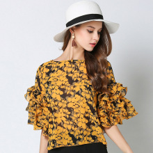 Fashion Off Shoulder Chiffon Blouse Floral Printing Five Sleeve Flare Sleeve Shirt Slash Neck  Ruffles Flowers Blouse Loose Cute