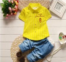 Boys Short-sleeved Shirt 2019 Summer New Korean Children's Wear Cotton Baby Girls Striped Shirt Children's Clothing Set QHX007