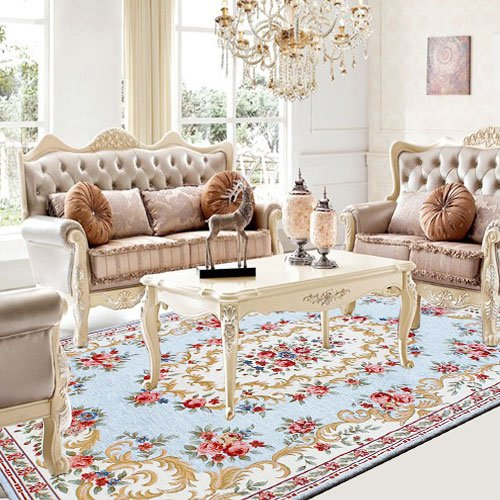WINLIFE Fashion Lake Blue Sitting Room Carpet,Elegant Floral Living Room  Rugs,Brand Large