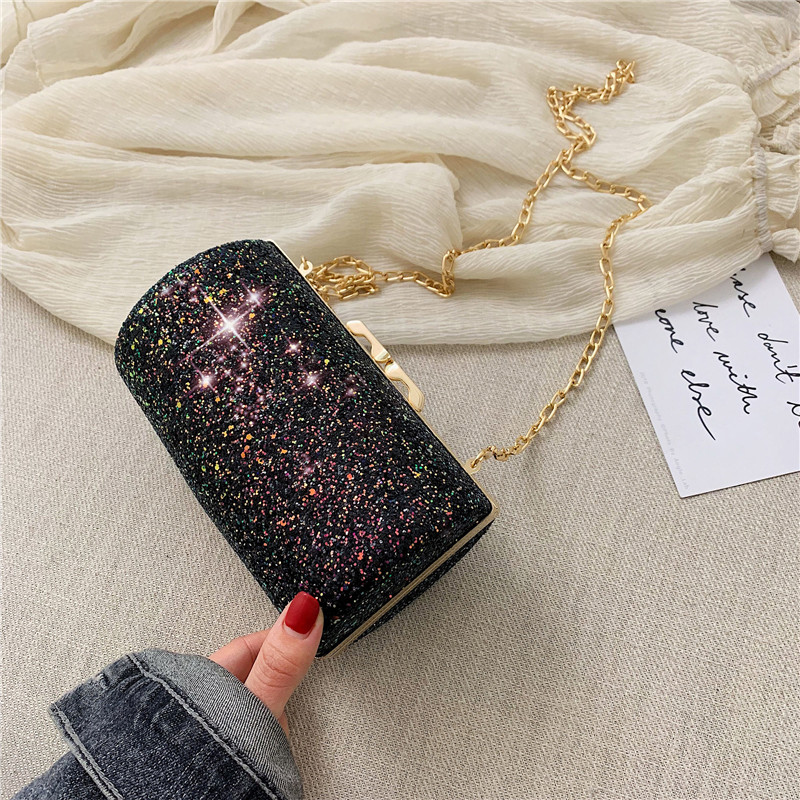 Women 39 s Bling Evening Party Handbag Wedding Bucket Day Clutches Bag With Chain Mini Birthday Gift Purse Shoulder Messenger Bags in Shoulder Bags from Luggage amp Bags