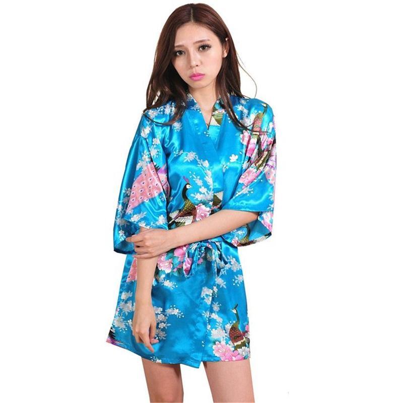Lake blue Chinese Women Silk Rayon Mini Robe Sexy Kimono Bath Gown Intimate Lingerie Pajama Plus Size S M L XL XXL XXXL ZS020