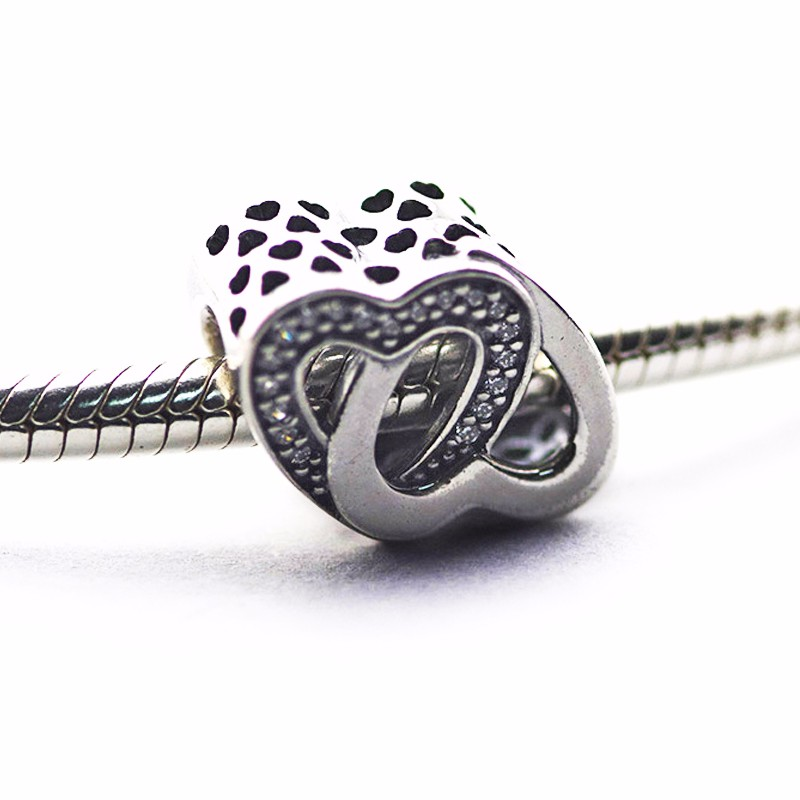ba84a7bf0 Fits Pandora charm bracelet entwined love charm with Clear Cz 100%  aurhentic 925 sterling silver DIY Making Wholesale