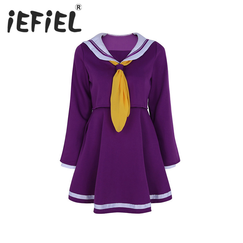 iEFiEL Women Adults Girls Sailor Suit Cosplay Costume Long Sleeve Top with Strapless Dress and Scarves Hand Guards Set Outfits