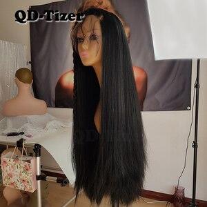 Image 4 - Lange Yaki Gerade Haar Schwarz Farbe Synthetische Lace Front Perücken Glueless Weiche 180 Dichte Spitze Vorne Perücke Yaki Haar für frauen