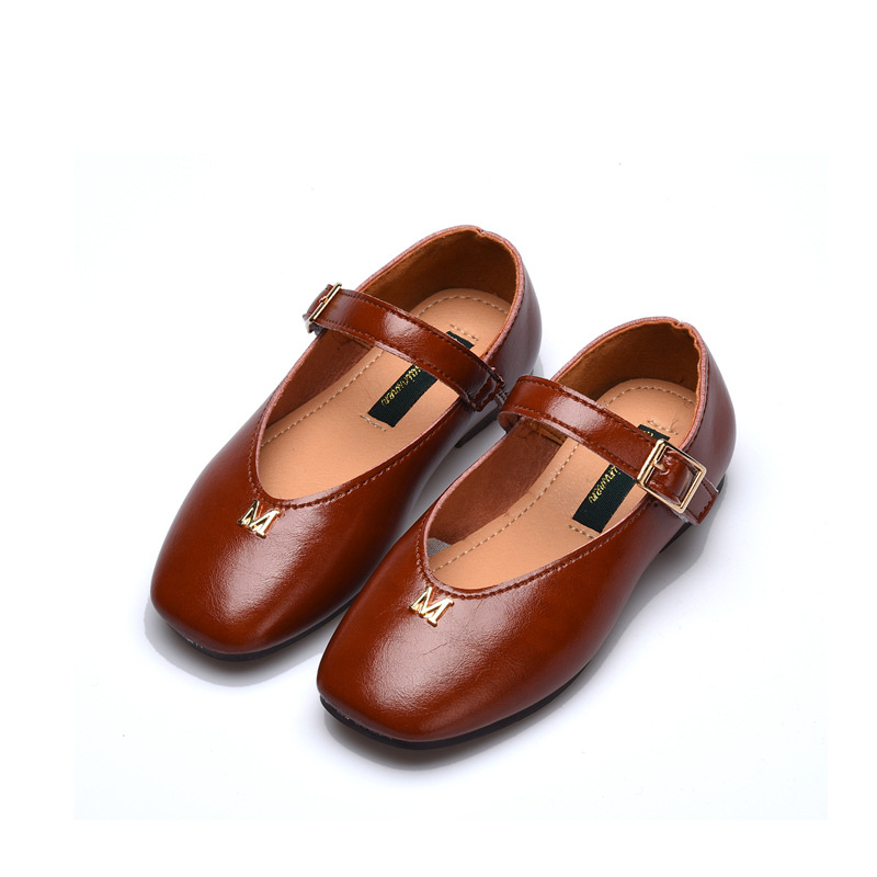 Spring Fashion Girls Flats Leathers Shoes Big Kids Black Casual Loafers Moccasins Princess Shoes Children Party School Sandales