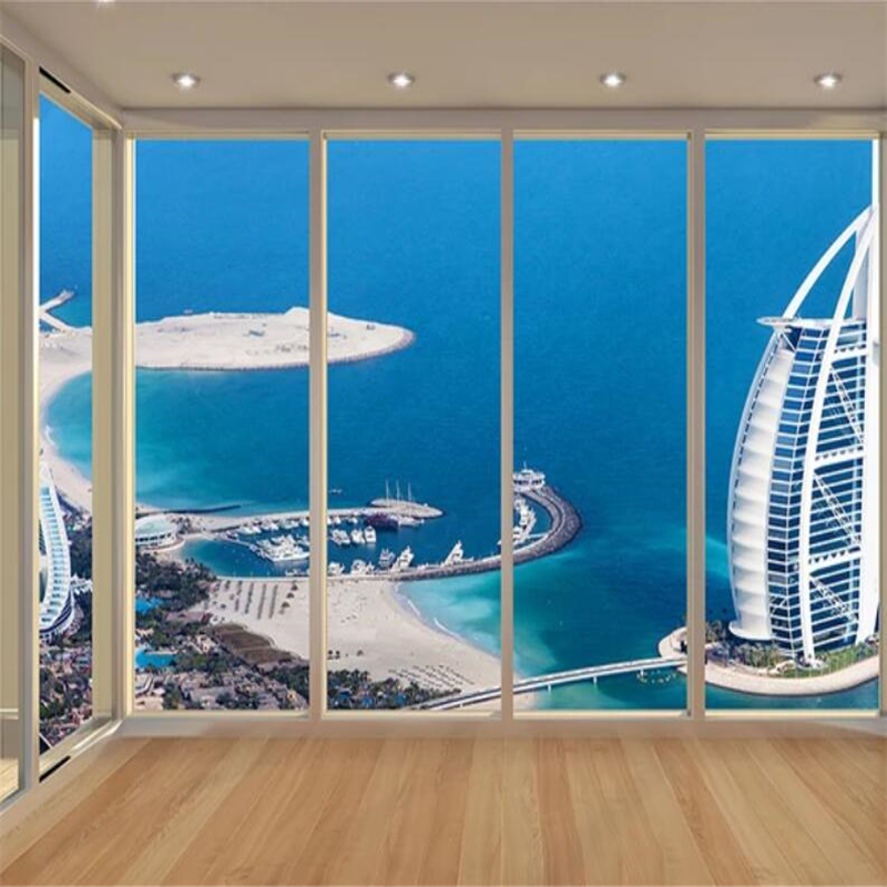 Beibehang Custom wallpaper Dubai Sailing Hotel Flooring Balcony Wall Custom Large Mural Green Wallpaper papel de parede