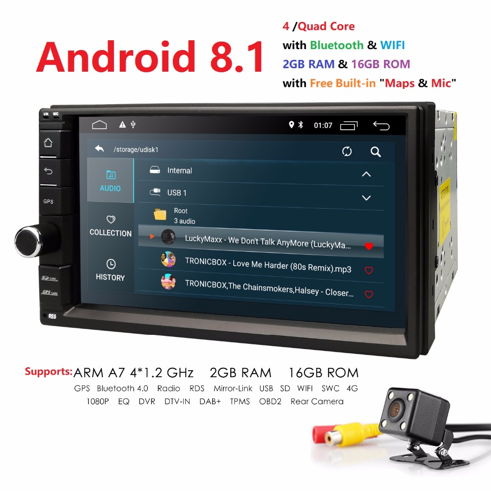 WiFi/4G Quad core Lettore 2 din 7 pollici android 8.1 Universal Car juke qashqai almera x trail nota X-TRAIL per Nissan GPS built-in