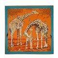 [LESIDA] Luxury Women's Silk Scarf Brand HandkerChief Fantastic Beast Giraffe Seda Bandana Shawls And Scarves Bufanda 13091