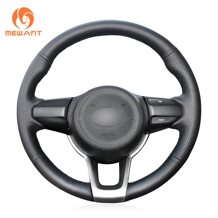 MEWANT Black Genuine Leather Hand Sew Car Steering Wheel Cover for Kia Rio 2017 2019 Rio5