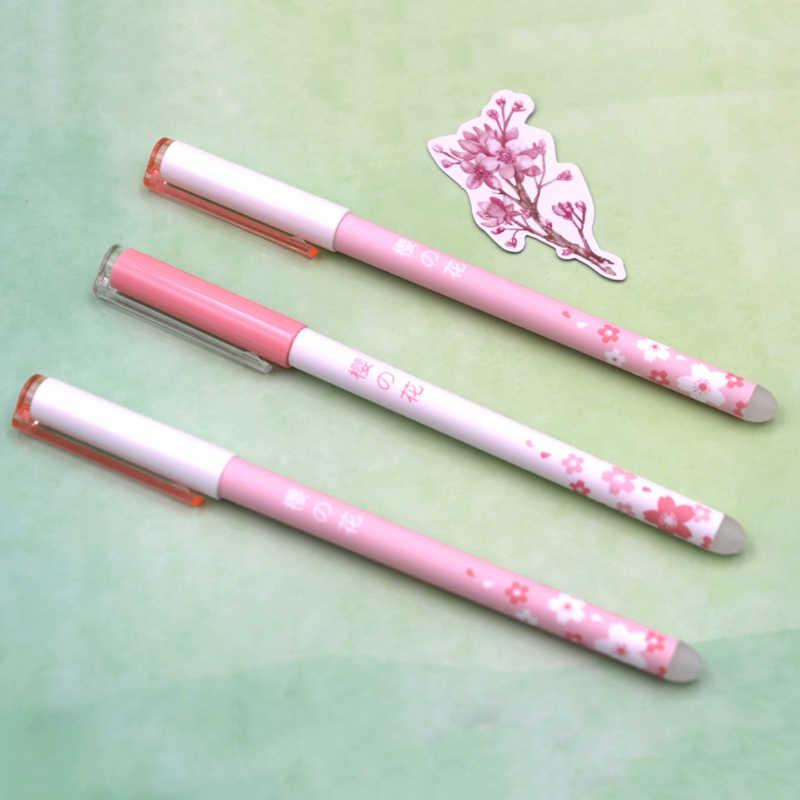 6 unids/lote linda flor borrable pluma lavable mango 0,5mm azul/negro tinta Gel varilla para oficina escolar suministros de papelería