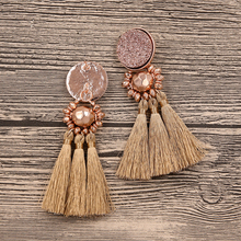 New Design Druzy Resin Beads Tassel Earrings For Women Handmade Boho Long Fringe Pompom Earring Fashion Jewelry Wholesale