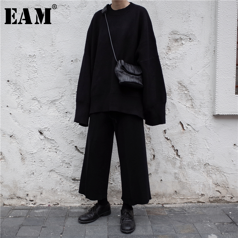 [EAM] 2020 New Spring O Collar Full Sleeve Loose Casual Asymmetrical Large Size Kintter Sweater Women Fashion Tide OB275