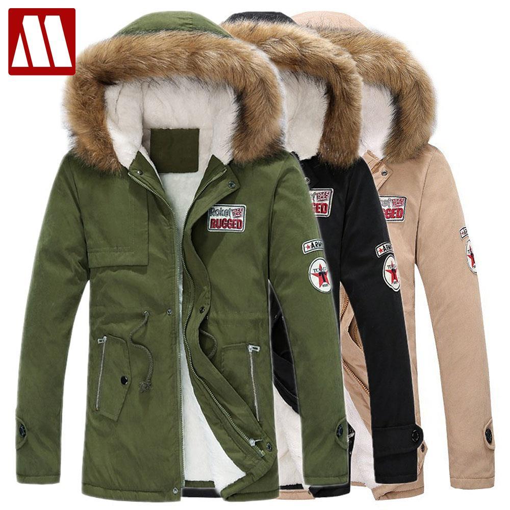 Assez Hiver Casual Canada Hommes col de fourrure manteau armée vert  UP95