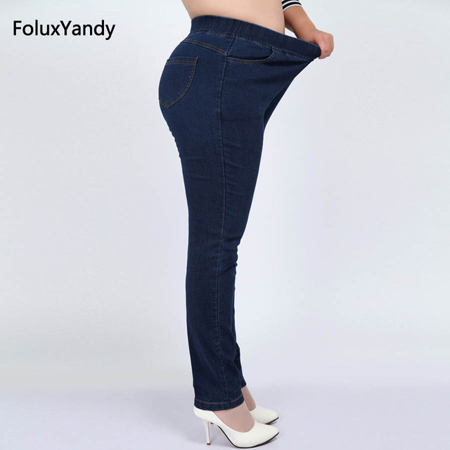 d0281d6a51399 9 XL Stretched High Waist Jeans Women Plus Size Pencil Pants Plus Size Slim  Skinny Jeans Blue Black YHFZ01