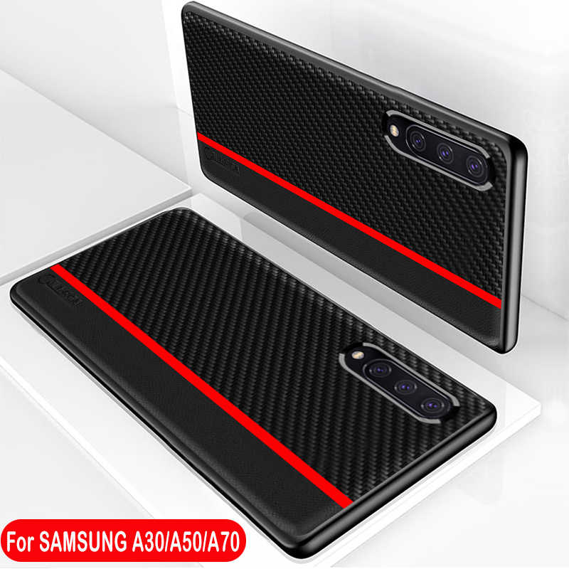 For Samsung A50 Case Original Carbon Fiber Leather Protection Back Cover for Samsung Galaxy A70 A50 A30 A7 A8 Plus A9 2018 Case