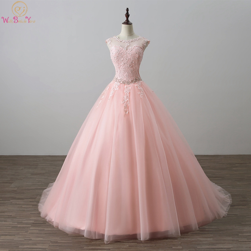Vestidos De 15 Anos Ball Gown Pink Quinceanera Dresses 2019 Debutante Lace Appliques Pearl Crystal Sleeveless Keyhole Back