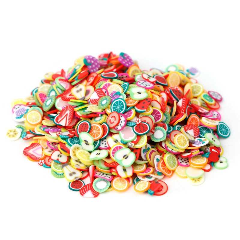 1000pcs/Bag 3D Fruit Fur Shape Polymer Clay DIY Nail Art Tip Sticker Decor Colorful