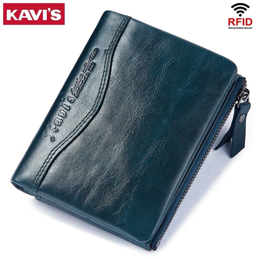 KAVIS 100% Genuine Leather Men Wallet PORTFOLIO Male Purse Small Portomonee With Short Fashion Mini Walet Zipper Card Holder