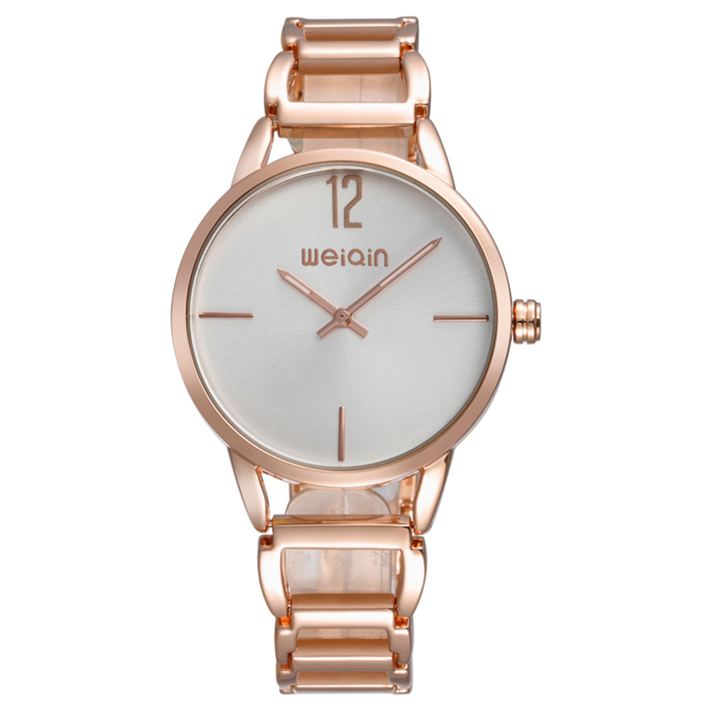 WEIQIN Brand Women Watch Simple Dial Two Pointer Design Bracelet Band Quartz Movement Ladies Gold Watch 2017 Fashion Wristwatch 2017 new arrival hand made full bamboo design quartz wristwatch bracelet clasp green beige dial simple casual male watch gift