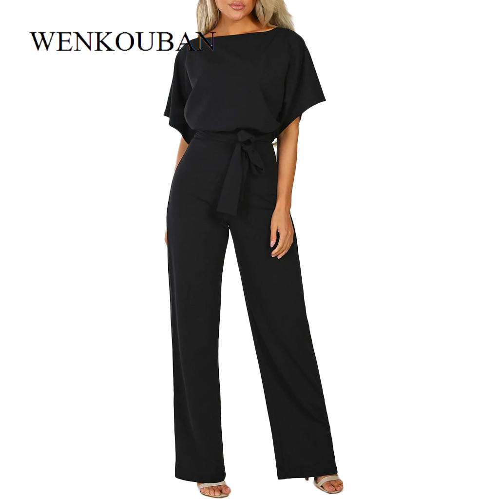 Rompers Women Overalls Jumpsuit Elegant Office Lady Sashes Loose Straight Short Sleeve Long Leg Kombinezony Combinaison Femme