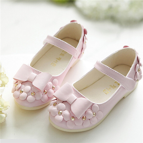 Summer Style Children Shoes New 2016 Sweet Bowtie Flowers Princess Shoes Girls Pink Flats For Spring Dancing Shoes #2573