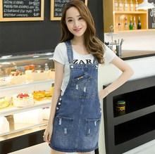 75f64e302a Autumn Summer Denim Dresses Women Casual Jeans Sundresses Korean Fashion  With Pocket Ripped Denim Blue Dress