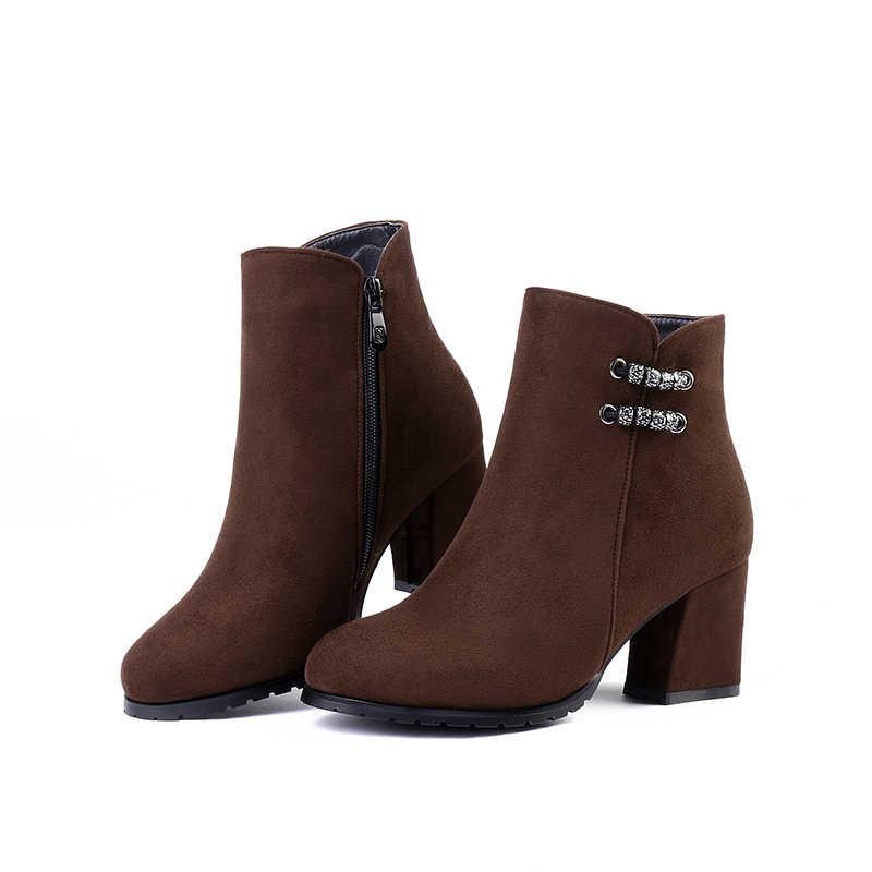 WETKISS Kalın Yüksek Topuklu Ayak Bileği Kadın Çizmeler Akın Yuvarlak Ayak Ayakkabı Kalın Peluş Kadın Çizme Zip Ayakkabı Kadın 2018 Kış siyah
