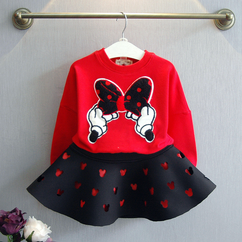 baby girl clothing sets 2017 kids  autumn new bow tie jacket hollow Mickey T-shirt + skirt two-pieces sets winter section suit