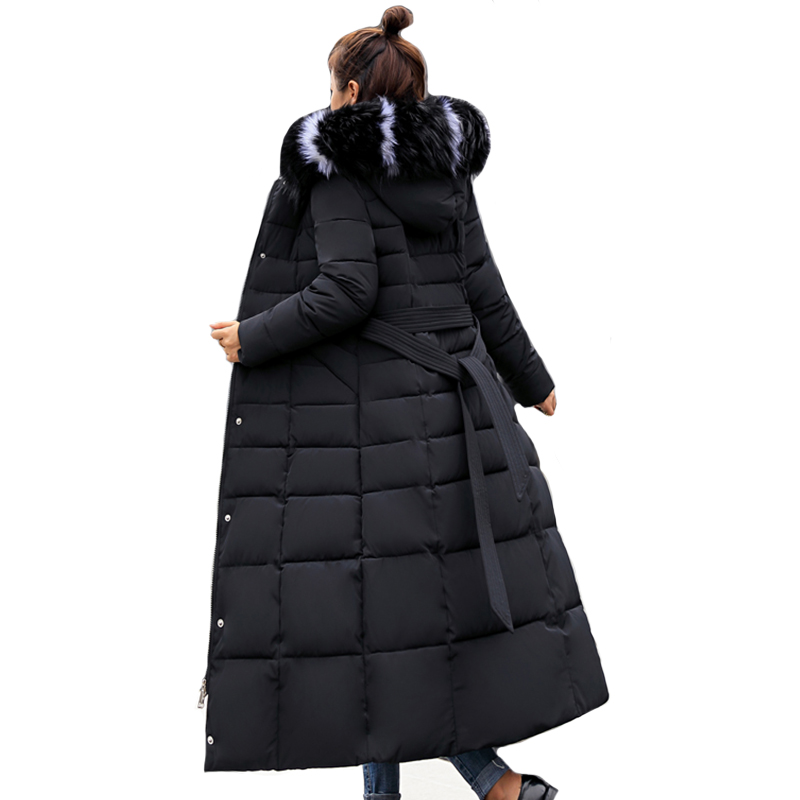 2019 New Arrival Winter Jacket Women X-long Fur Hooded Warm Thicken Female Coat Warm Thicken Elegant With Belt Winter   Parka