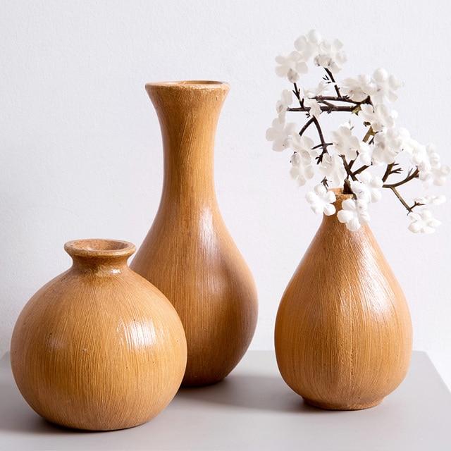 1pc Retro Wooden Vase Living Room Flower Arrangement Simple Modern Dried Ornaments