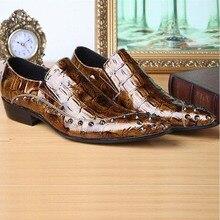 Крокодил заклепки роскошные мужские бизнес туфли оксфорды черный коричневый старинные натуральная кожа мужчины квартиры свадьбу мокасины