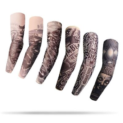 1 Pcs Tattoo Sleeve Printed Arm Sleeve Seamless Summer Sunscreen Warmer Tattoo Stitched Outdoor Riding Seamless Cool Arm Warmers