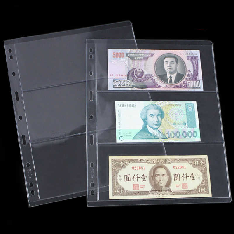 album pages sheets sleeves loose leaf 3 rows 9 hole for 3 4 hole banknote money currency collections 28cm*21.5cm