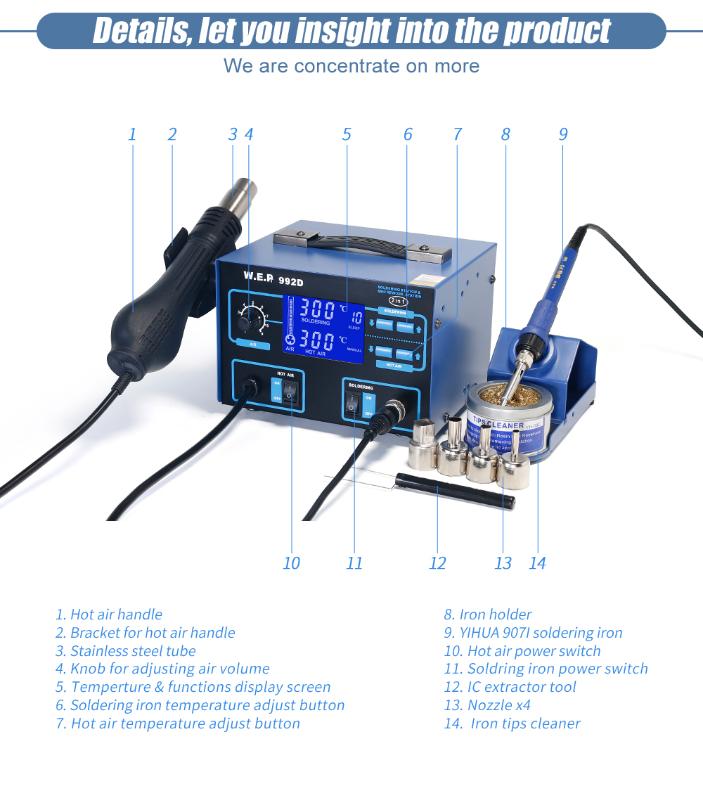 Wep 992d Hot Air Solder Iron Soldering Station 2 In 1 Smd Rework Wire Diagram For Three Button 853d 5a Gun Bga With 30v Dc Power Supply 3 Welding Toolusd 27632 Piece
