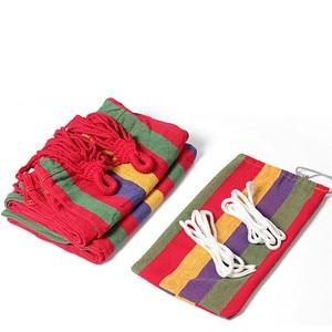 Image 2 - Hamac 2 personnes 240*150cm hamac de loisirs en plein air lit suspendu double couchage toile balançoire hamac camping chasse 2 couleur