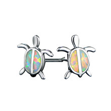 100% 925 Sterling Silver Sea Turtle Stud Earrings Blue/White Fire Opal Animal Earrings For Women Fashion Party Jewelry eiolzj white oval fire opal stone 925 sterling silver clip earrings for women bridal fashion jewelry free gift box three colors