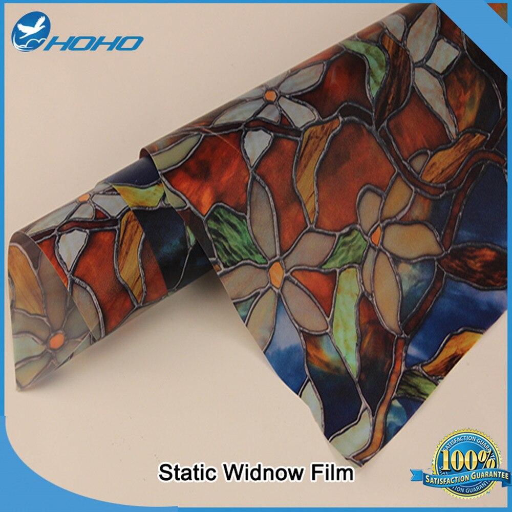 Film de vitrail de 45 cm x 1000 cm, décoratif pour le Film privé d'art libre d'adhésif à la maison, Film statique de fenêtre