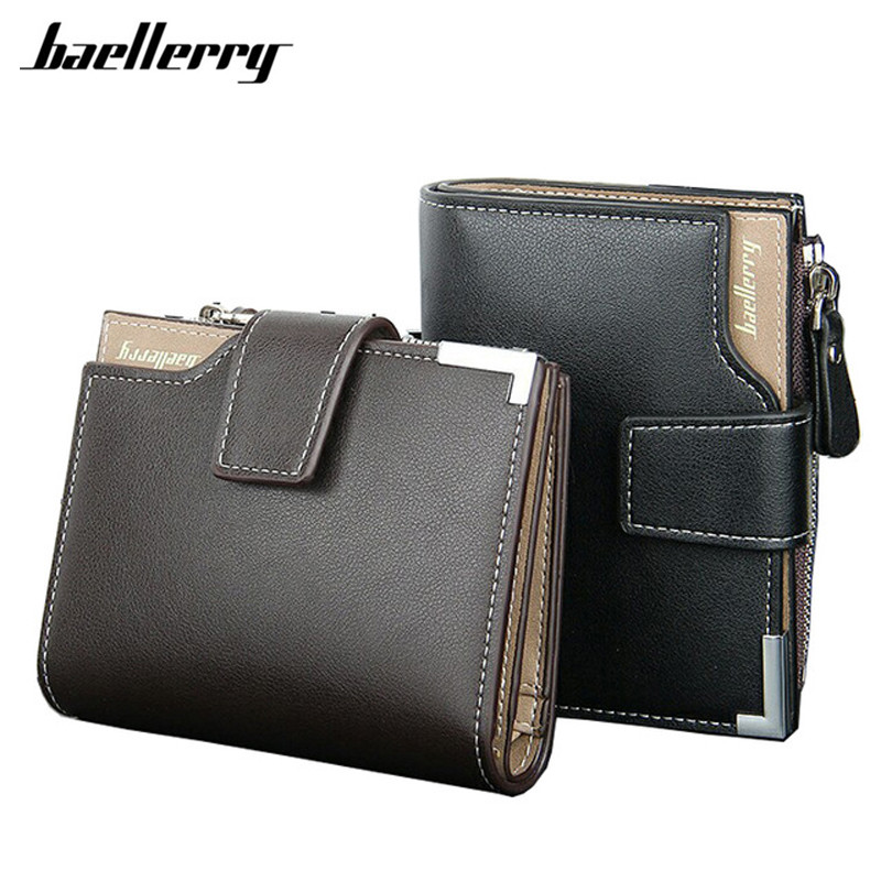 New 2017 Short Wallets Baellerry Genuine Leather+PU Men Wallets Bifold Wallet Men Card Holder Coin Purse Pockets With Zipper japan anime katekyo hitman reborn wallet cosplay men women bifold coin purse