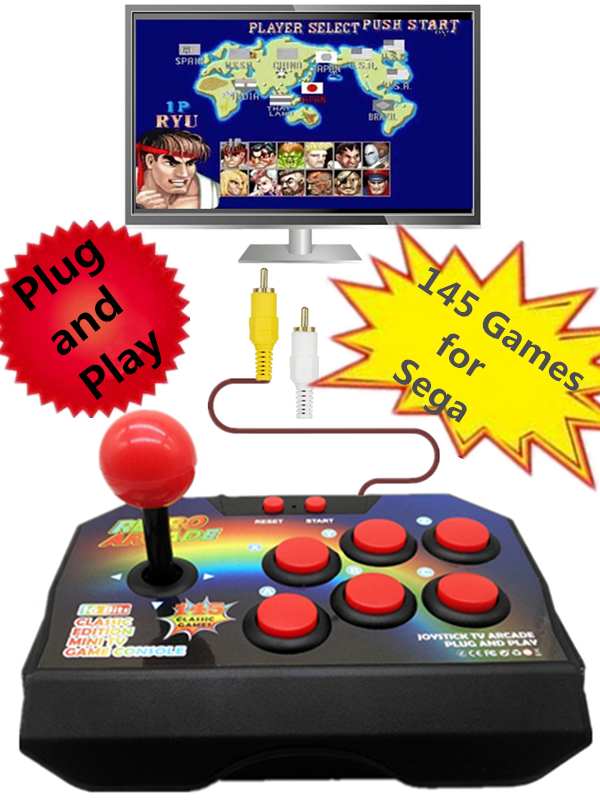 Plug and Play Retro TV Video Arcade Game Console Joystick Game Console with 145 Different Games For Sega Megadrive RCA Output(China)