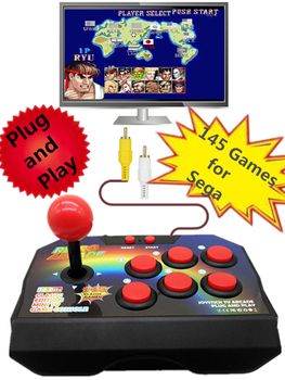 цена на Plug and Play Retro TV Video Arcade Game Console Joystick Game Console with 145 Different Games For Sega Megadrive RCA Output
