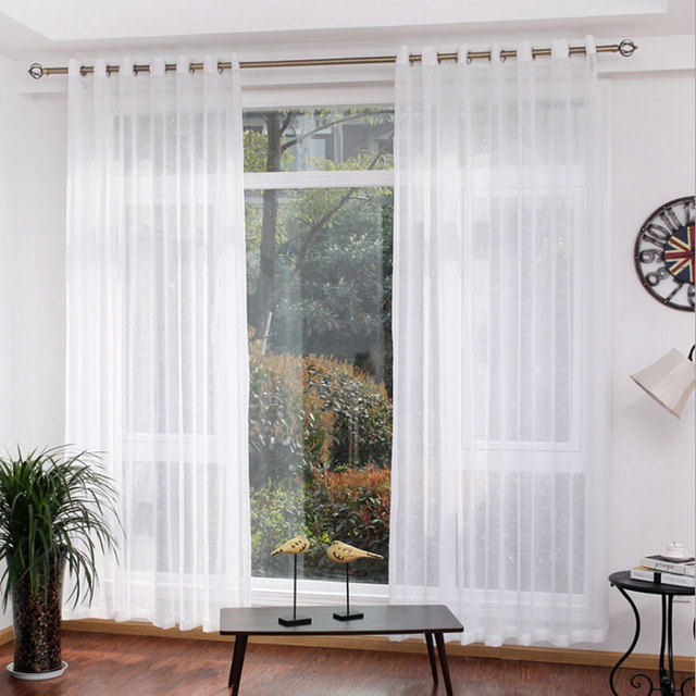 White Sheer Voile Curtains Single Panels Modern Home Window Decoration Kitchen Tulle For Living Room