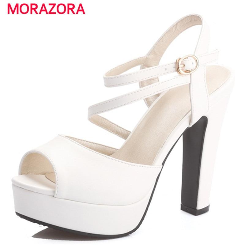 MORAZORA 2018 Summer fashion shoes woman high heels sandals women shoes buckle platform wedding shoes big size 34-46 цена